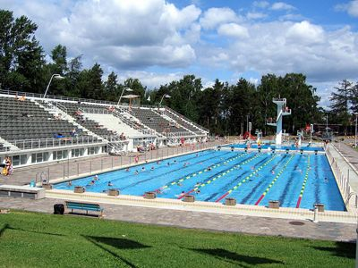 The Olympic swimming pool from the 1952 games in Helsinki, now a recreational facility used in the summer.