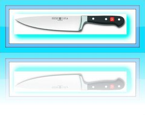 """Wüsthof CLASSIC Cook´s knife – 4582 / 20 cm Precision forged from a single blank of steel with bolster and full tang. The cutting edge is amazing, balance perfect, more comfortable and substantial. There is a full bolster/finger guard for safety and protection. The handle is """"triple riveted for permanence."""" http://theceramicchefknives.com/best-chef-knives/ Damascus steel blade, Global G-2 Chef's Knife, hand-hammered, hand-hammered Damascus steel blade, Molybdenum, pakka wood,"""