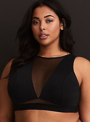 0489734f641a8 Black Microfiber   Mesh High Neck Bralette