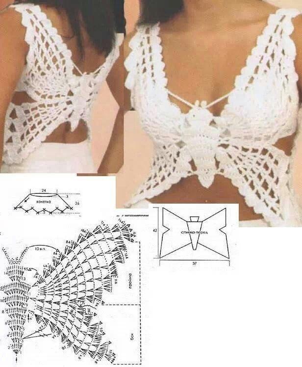 Butterfly top vest crochet summer beach pattern | ropa | Pinterest ...