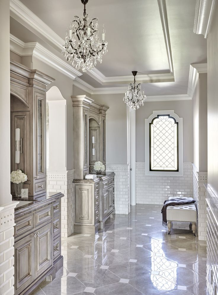 luxurious long gray french master bathroom is clad in gray marble diamond pattern floor tiles with square inlays of white marble accented by white beveled - Luxury Master Bathroom