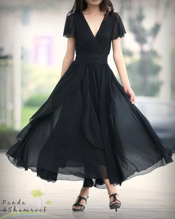 Deje que el cuello de viento flujo/largo vestido/S-XL/custom hecho/gasa/flujo/elegante/V