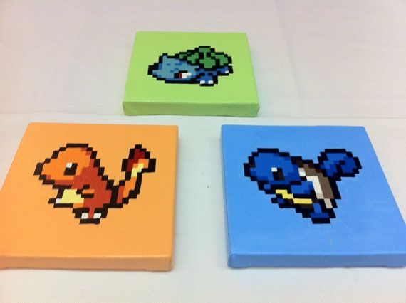 3 Starters Pokémon First Generation Nintendo 8 by KaterineArts, $70.00