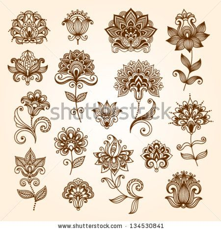 Ornamental flowers. Vector set with abstract floral elements in indian style by ...