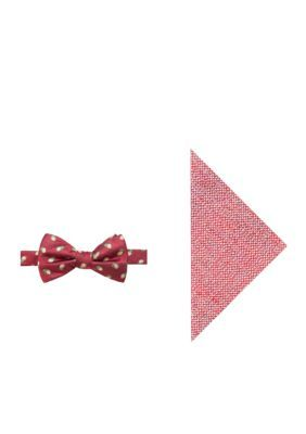 Crown & Ivy™ Men's Naples Lemon Bow Tie And Pocket Square Set - Red - Regular - 58 In.