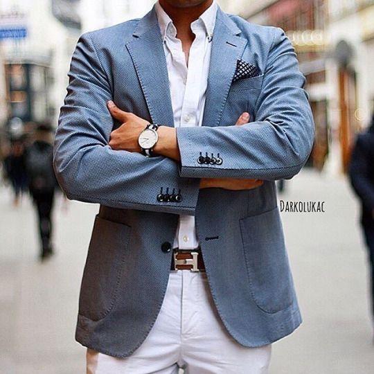 Blue Blazer with Shite Shirt and white pants . Men's casula style
