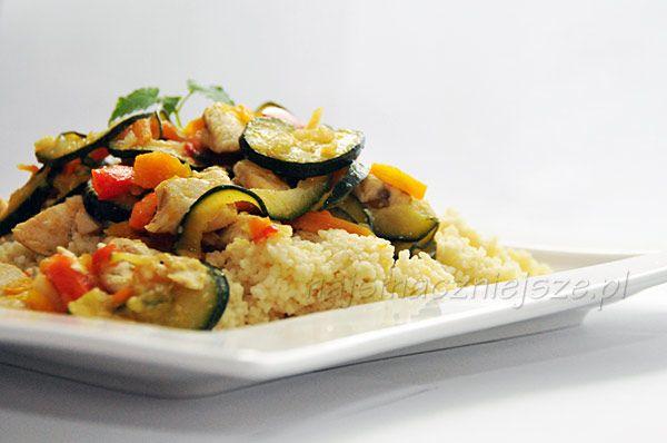 Kuskus z warzywami i kurczakiem, kuskus z cukinią, kuskus z kurczakiem, couscous with zucchini, couscous with chicken, couscous, Couscous with vegetables