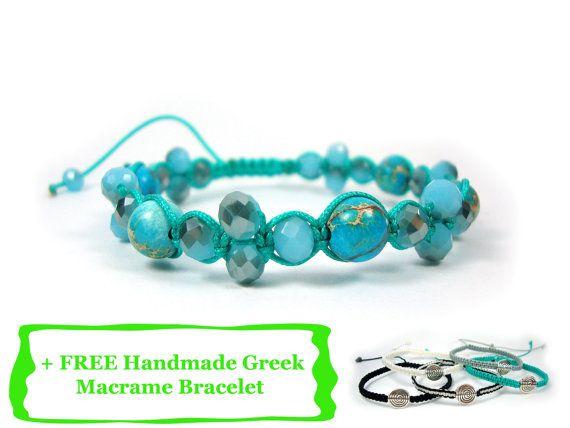 FREE SHIPPING Handmade Greek Adjustable Natural Jasper Turquoise Color Bracelet + FREE Handmade Greek Macrame Bracelet on Etsy, 18,00€