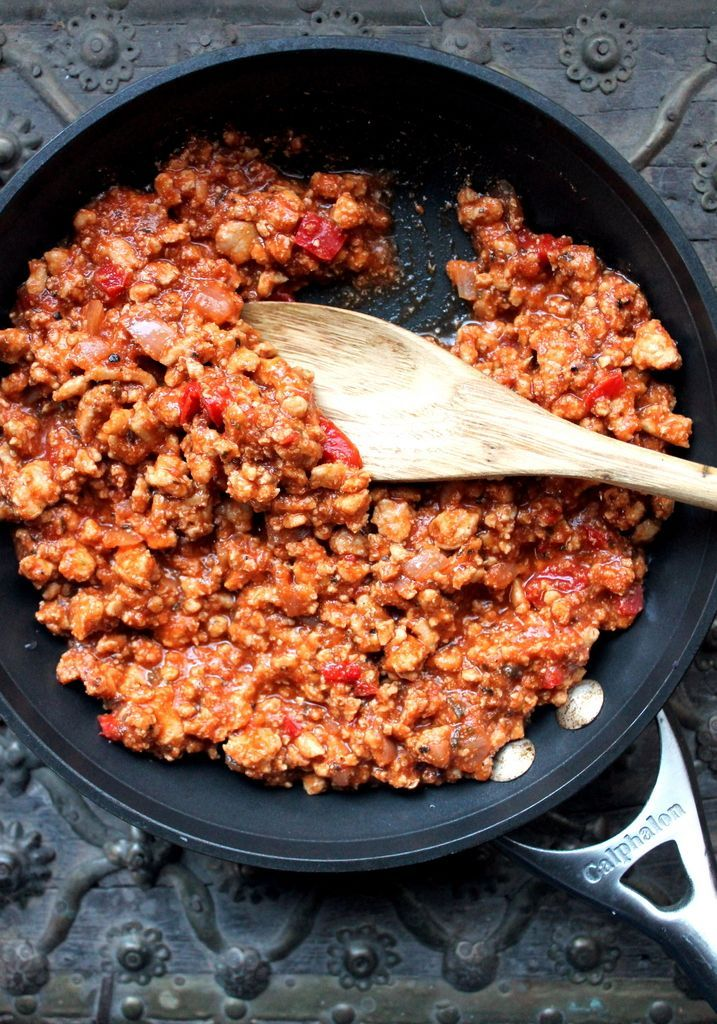 Favorite Lean Turkey Sloppy Joes made with onion, garlic, tomato sauce, worcestershire, chili powder, tomato paste, hot sauce, brown sugar