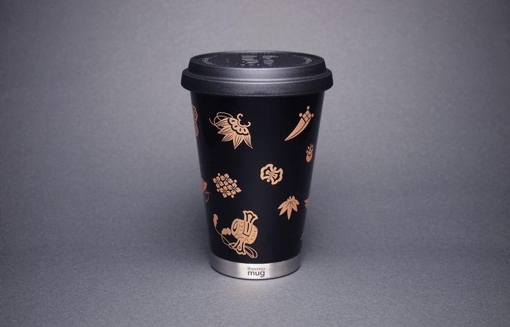 土直漆器×thermo mug URUSHI MOBILE TUMBLER TAKARADUKUSHI SHU(漆モバイルタンブラー 宝尽くし 黒)
