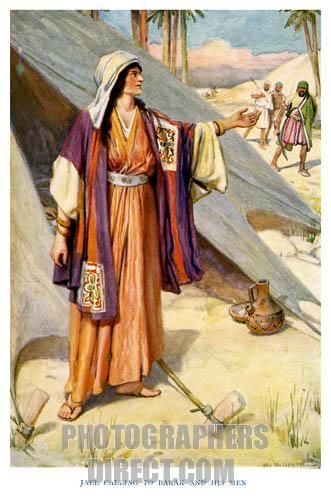 Deborah ; Prophetess and Judge caption reads , Jael calling to Barak and his men . Judges 4 : 22 , Jael came out to meet him , and said unto him , Come , and I will show thee the man whom thou seekest . And when he came into her tent , behold , Sisera lay dead , and the nail was in his temples . ( From The Old Testament Story ) . c . 1920s . Illustrations by Arthur A . Dixon . AD : English artist : 1892 1927 . stock photo