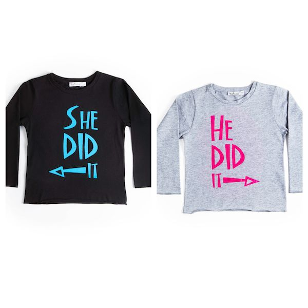 Set of two t-shirts for twins with prints 'She Did It' & 'He Did It'. In mytwins collection.