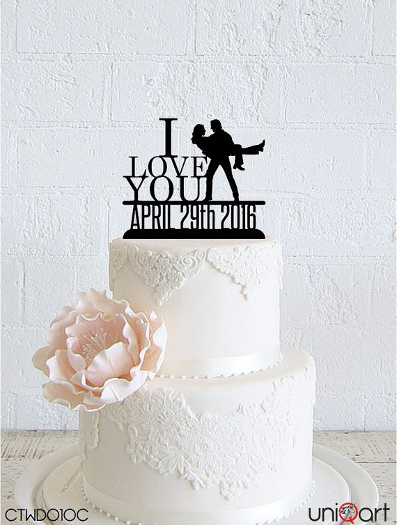"""Hugging Couple """"I Love You"""" Personalized Wedding Cake Topper, Customizable Date, Removable Stakes, Free Base for After Event, Gift CTWD010C"""