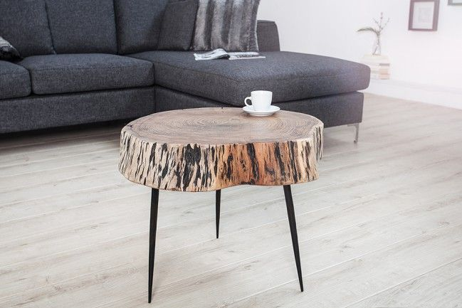 Original Baumstamm Couchtisch GOA 60 cm Akazie Massivholz