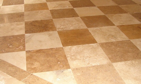 Travertine Checkerboard Checkerboard Tile Pattern