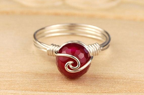Sterling Silver Filled Wire Wrap Ring with Fuchsia Disco Ball Cut Gemstone with…                                                                                                                                                                                 More