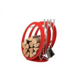 Stojak na drewno z przyborami kominkowymi SA001R