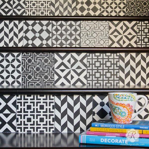 Moroccan Tile Stencil Set. Diy KitchenKitchen BacksplashStair ...