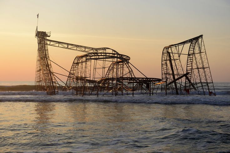 The Jet Star roller coaster is seen in the ocean at dawn on April 28 as it was left by Hurricane Sandy, in Seaside Heights, N.J. (Michael Reynolds/European Pressphoto Agency)6 Month