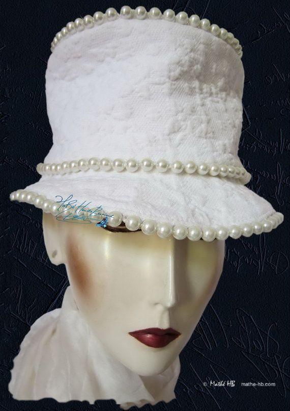 chapeau blanc à perles nacrées coton bibi chic par MatheHBcouture