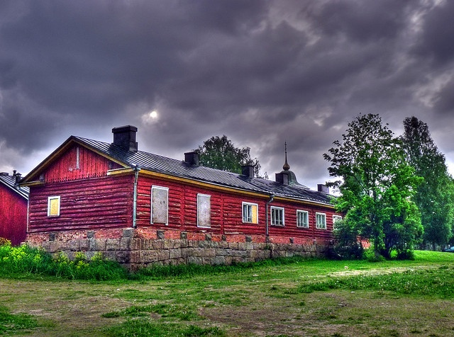 Old red house in the fortress of Lappeenranta