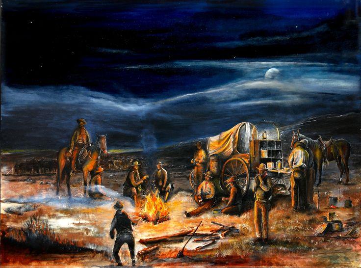 The Chuck Wagon Night Moon Campfire by Rahming.jpg (1250×929)