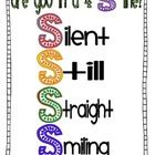"""A visual to help your students make the best """"ready for the hall"""" line...the 4 S's...silent, still, straight, and smiling...."""