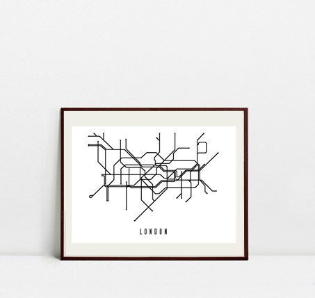 London Metro Map - Black and White Art Print - Digital Download Art Print by Postery on Etsy