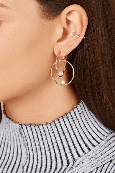 Anissa Kermiche 14-karat gold pearl hoop earring $1,040 Bell-back fastening for pierced ears Freshwater pearls: China