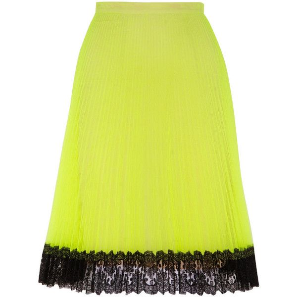 Christopher Kane Lace Trimmed Neon Tulle Skirt ($1,100) ❤ liked on Polyvore featuring skirts, neon green, neon skirt, christopher kane, pleated skirt, knee length skirts and christopher kane skirt
