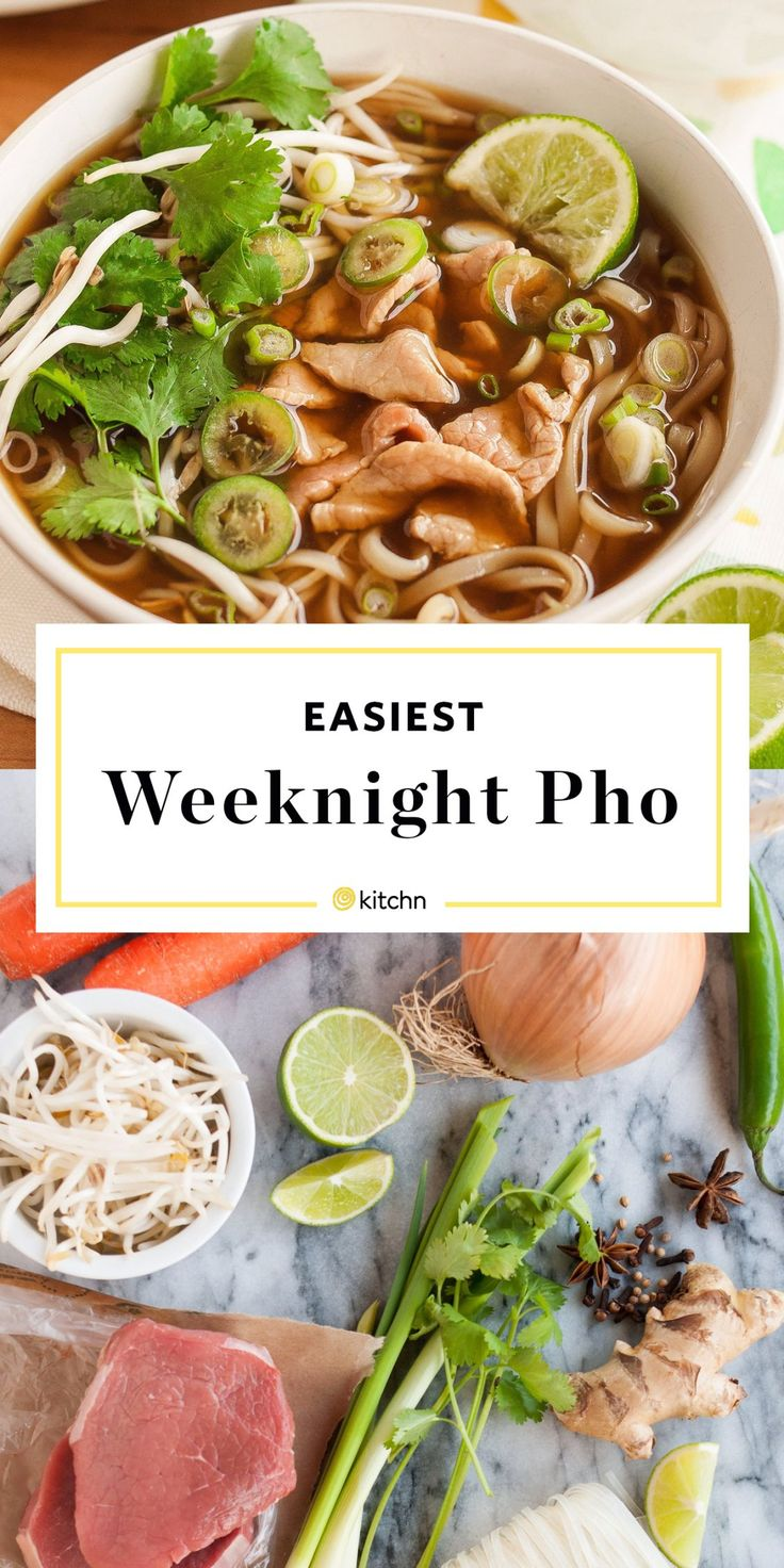 QUICK and easy recipe for Vietnamese beef noodle pho that you'll love. Looking for recipes and ideas for simple and healthy weeknight soups for dinners and meals? It has the makings of comfort food: noodles, broth, and it can be vegetarian or meaty (think thin-sliced beef, chicken, or pork). We take you step-by-step how to make this simple pho soup recipe. Garnish with some crunch and you have the perfect last-minute meal.
