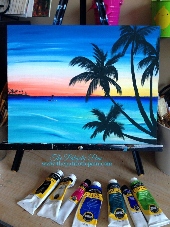 Sunset, paddle boarder, beach acrylic painting on an 11 x 14 canvas.