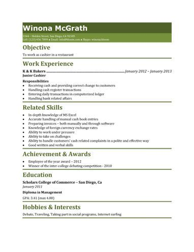 461 best Resume Templates and Samples images on Pinterest - cashier resume template