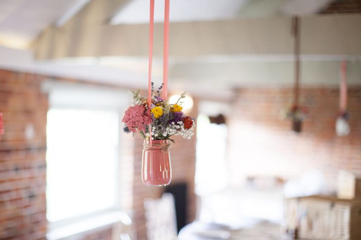 Hanging Floral Arrangements | DIY Hand Crafted Bright Wedding at Sopley Mill in Dorset | Lace Tahlia Jack Sullivan Bridal Gown | ASOS Wool Blend Suit | Wild Flowers | Images by Kerry Bartlett Photography | http://www.rockmywedding.co.uk/claire-lee/