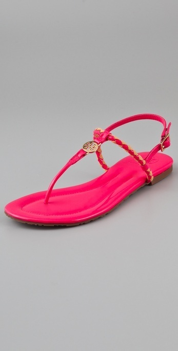 Great punch of colour w/ white pants - Tory Burch Aine Flat Sandals