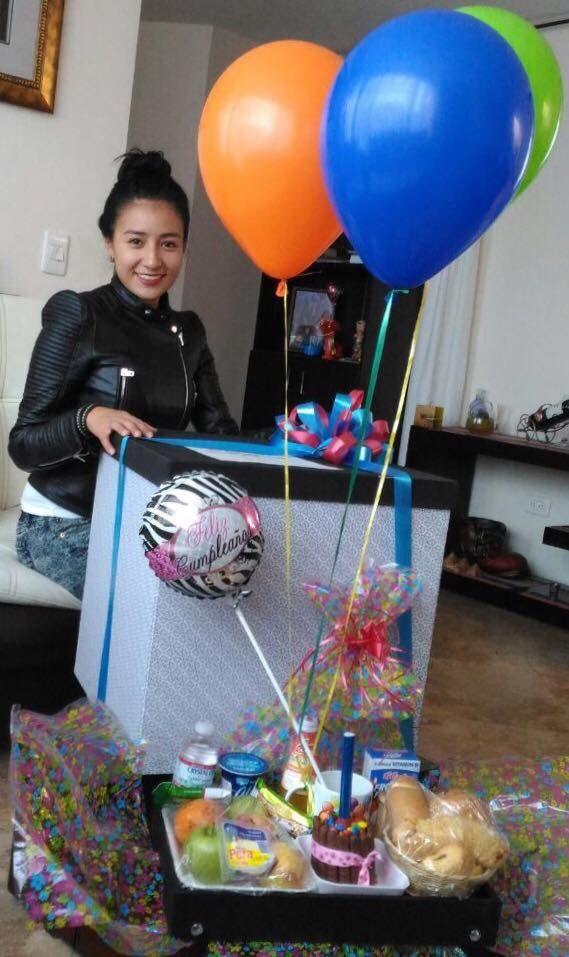 Desayuno Sorpresa Cumpleaños en Caja Mágica con Globos con Helio!  Lo mejor para ti!  Felicidades en tu día!