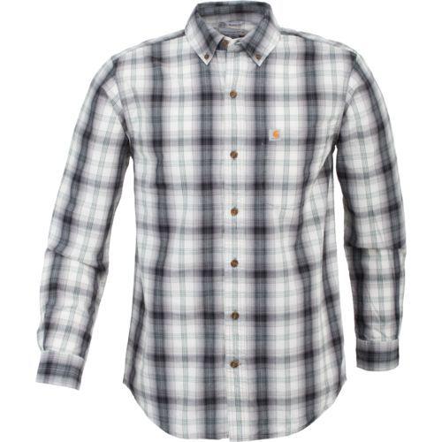 Carhartt Men's Essential Plaid Button Down Long Sleeve Shirt (Black, Size Large) - Men's Work Apparel, Men's Longsleeve Work Shirts at Academy Sports