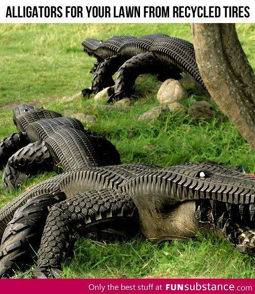 Alligators from recycled tires - FunSubstance.com on imgfave