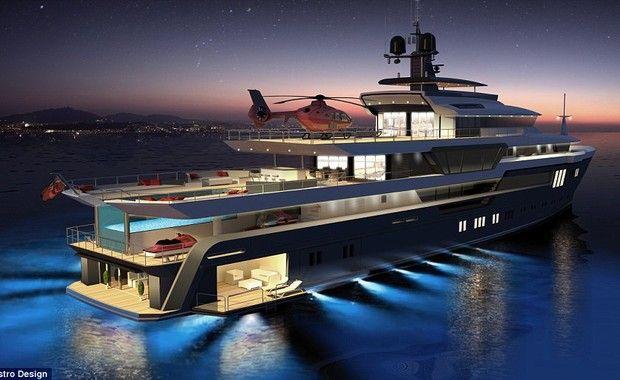 O barco oferece piscina, cinema, adega, sauna e até heliponto. O preço? Cerca de 94 milhões de reais. Topa?