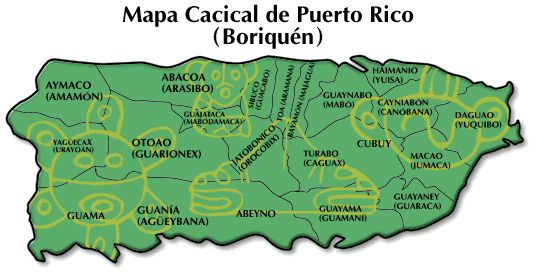 Boriken, original Taino name of Puerto Rico, USA. Names of villages in ancient Taino Native Indian language. The names of the Caciques or Chiefs are noted in parenthesis.