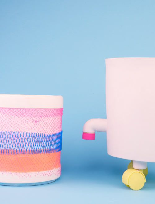Feeling that the plastic parts that come as screw tops, buckets, and lids on everyday objects don't get the proper dues they deserve, artist Roos Gomperts decided to create a way to showcase their colorful lure by designing ceramics to display them in a series called Ceramics for Plastics.