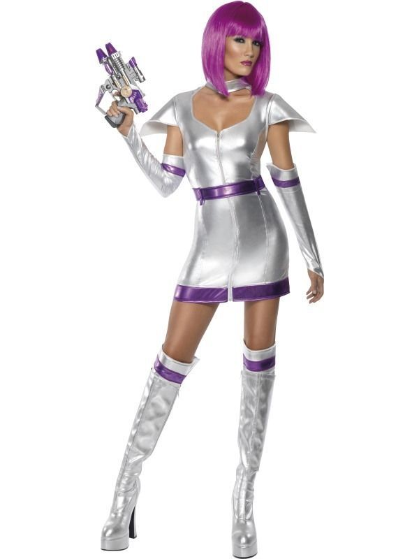 Adult Size 16-18 Sexy Space Woman Cadet Alien Fancy Dress Costume Large Ladies