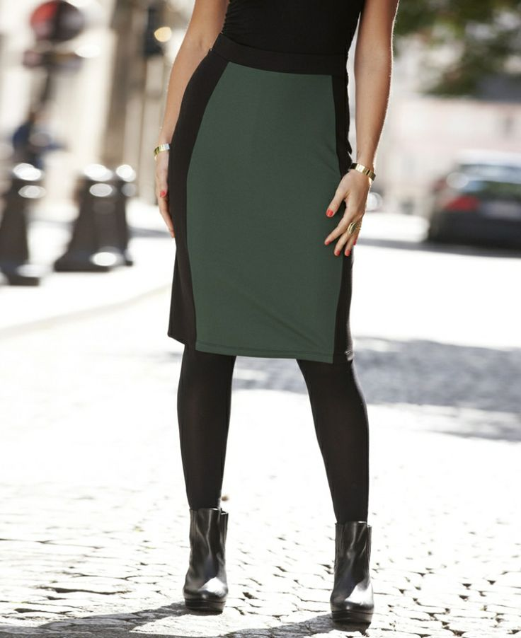 Color blocked skirt from Simply Be - $62 - looks great with boat neck sweater