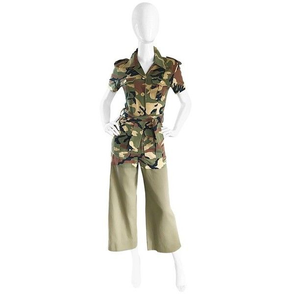 Preowned Vintage Moschino Camouflage 1990s Belted 90s Rare Safari... (2 230 AUD) ❤ liked on Polyvore featuring jumpsuits, rompers, brown, playsuit romper, belted jumpsuit, vintage jumpsuit, camouflage jumpsuit and tie romper