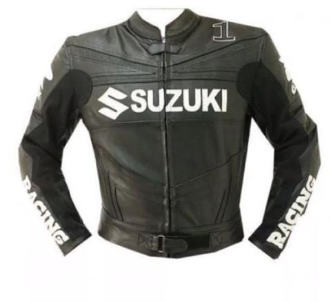Black Suzuki motorycle jacket with armor protection