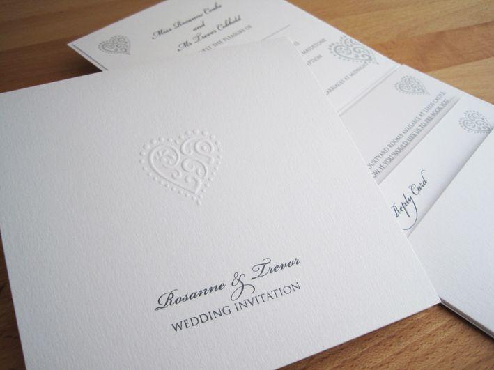 Liberty Pocketfold Invitation in pearlescent white.