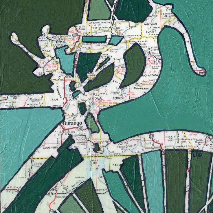 Bike Durango Colorado-bicycle art print of map painting. $17.00, via Etsy.