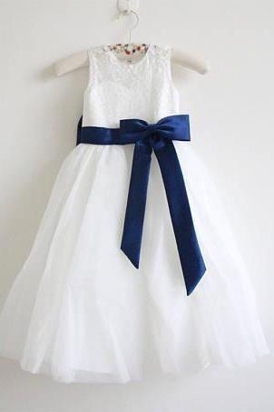 Ivory Lace Flower Girl Dress Light Ivory Baby Girl Dress Lace Tulle Flower Girl Dress With Navy Sash/Bows Floor-length D10