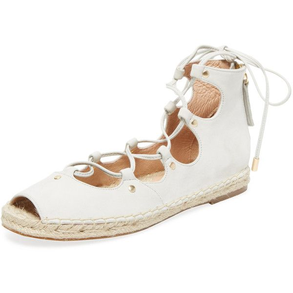 Maiden Lane Women's Lace-Up Nubuck Espadrille - Cream/Tan - Size 5 ($79) ❤ liked on Polyvore featuring shoes, sandals, lace up sandals, cream sandals, lace up espadrilles, flat shoes and tan flat sandals