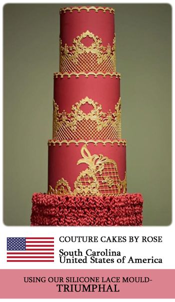 Crystal Candy's TRIUMPHAL silicone lace mould used to make beautiful edible lace for this cake. www.crystalcandy.co.za
